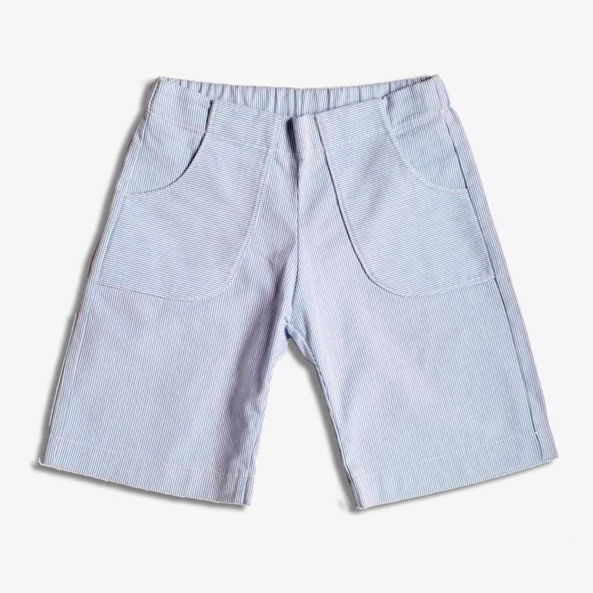 Kinder Shorts mit Fronttaschen in blau-weiß-gestreift