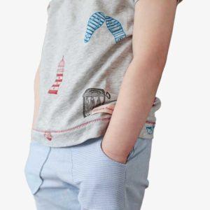 Detailansicht von Kinder Shorts mit Fronttaschen in blau-weiß-gestreift