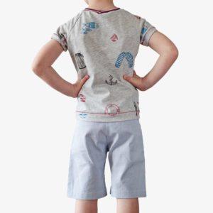 Rückansicht von Kinder Shorts in blau-weiß-gestreift