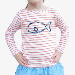 Kinder Langarmshirt natur-orange-gestreift mit Fischapplikation