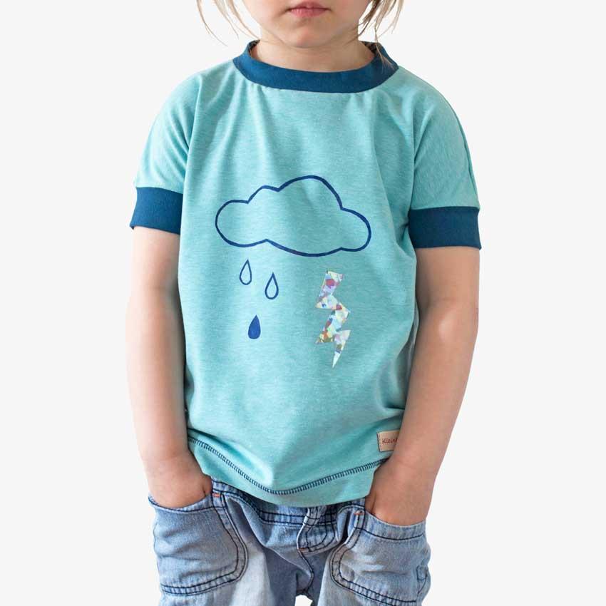 Kinder T-Shirt aus Baumwolljersey türkis-blau mit Wolke-Blitz-Motiv