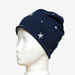 Kindermütze, Beanie in dunkelblau mit reflektierenden Sternen