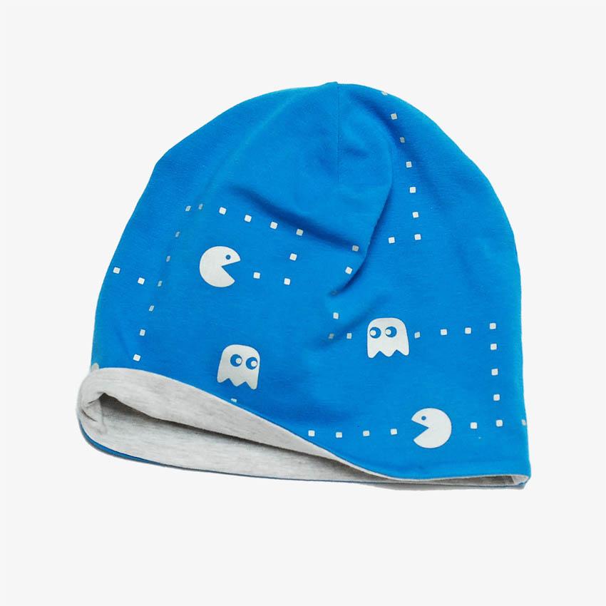 Mütze, Beanie blau mit mit reflektierendem Pacman-Motiv