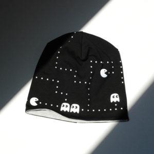 Mütze, Beanie schwarz mit mit reflektierendem Pacman-Motiv