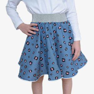 Mädchentorso mit Kinderrock in jeansblau mit rosa Leoprint, Glitzerbund und reflektierendem Saum