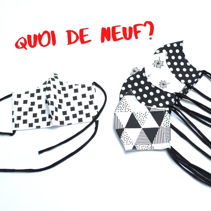 Mundmasken schwarz-weiß mit Punkten, Pusteblumen, Dreiecken, Quadraten